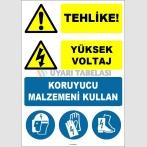 EF1507 - Tehlike Yüksek Voltaj Koruyucu Malzemeni Kullan, Baret, Yüz Siperi, Eldiven, Ayakkabı