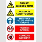 EF1612 - Dikkat Oksijen Tüpü, Patlama ve Yangın Tehlikesi, Sıcak ve Ateşten Koruyun, Yağlı Elle Tutmayın, Çarpmayın, Düşürmeyin