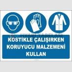 EF2043 - Kostikle Çalışırken Koruyucu Malzemeni Kullan, Koruyucu Gözlük, Eldiven, Önlük