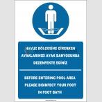 EF2268 - Türkçe İngilizce Havuz Bölgesine Girerken Ayaklarınızı Ayak Banyosunda Dezenfekte Ediniz