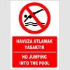 EF2282 - Türkçe İngilizce Havuza Atlamak Yasaktır, No Jumping Into The Pool