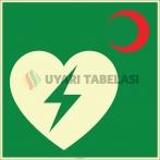 EF2004 - Fosforlu AED Defibrilatör Cihazı İşareti Levhası/Etiketi