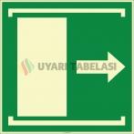 EF1976 - Fosforlu Kapıyı Açmak İçin Sağa Kaydırın (Çekin) İşareti Levhası/Etiketi