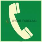 EF1967 - Fosforlu Acil Durum Telefonu İşareti Levhası/Etiketi