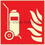 EF2680 - Fosforlu Tekerlekli Yangın Söndürücü İşareti Levhası/Etiketi