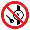 EF2708 - Saat ve Metal Eşya İle Girilmez İşareti/Levhası/Etiketi
