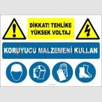 EF2837 - Dikkat! Tehlike, Yüksek Voltaj, Koruyucu Malzemeni Kullan, Baret, Yüz Siperi, Eldiven, Ayakkabı