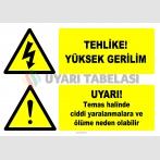 EF2838 - Tehlike! Yüksek Gerilim Uyarı Levhası