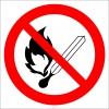 EF2857 - Açık Alev, Ateş Yakmak Yasaktır İşareti/Levhası/Etiketi