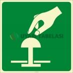 PF1019 - Fosforlu Acil Stop Butonu (Düğmesi) İşareti Levhası/Etiketi