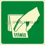 PF1160 - Fosforlu Açmak İçin Plakayı İtiniz İşareti/Levhası/Etiketi