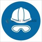 PF1051 - Baret ve Gözlük Kullan İşareti/Levhası/Etiketi