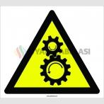 PF1093 - Dönen Dişlilere Dikkat! işareti levhası/etiketi