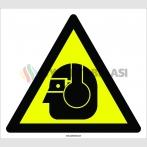 PF1104 - Dikkat! Göz Yaralanma ve İşitme Kaybı Tehlikesi İşareti