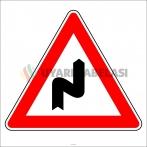 PF1211 - Sağa Tehlikeli Devamlı Virajlar Trafik Levhası