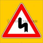 PF1214 - Sola Tehlikeli Devamlı Virajlar Trafik Levhası
