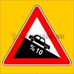 PF1216 - Tehlikeli Eğim (İniş) Trafik Levhası
