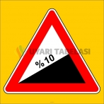 PF1222 - Tehlikeli Eğim (Çıkış) Trafik Levhası