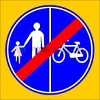 PF1445 - Yayalar ve Bisikletliler İçin Ayrı Ayrı Kullanılabilen Yolun Sonu Trafik Levhası