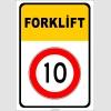 PF1383 - Forklift Kapalı Alan Hız Sınırlaması 10 km Trafik Levhası