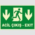 PF1754 - Türkçe İngilizce Fosforlu Acil Çıkış Exit - Aşağı Yön
