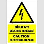PF1767 - Türkçe İngilizce Dikkat! Elektrik Tehlikesi, Caution Electrical Hazard