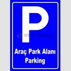 PF1771 - Türkçe İngilizce Araç Park Alanı Parking Levhası
