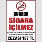 PF1793 - 4207 Sayılı Kanun Uyarınca 2020 Yılı Sigara İçme Cezası 187 TL