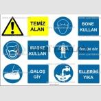 KKD 4051 - Temiz alan, maske, bone, galoş, önlük giy, ellerini yıka