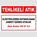 A060701 - Elektrolizden kaynaklanan asbest içeren atıklar