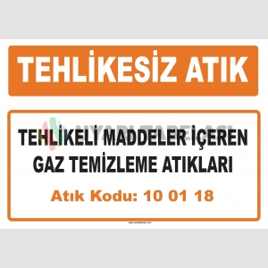 MA100118 - Tehlikeli maddeler içeren gaz temizleme atıkları