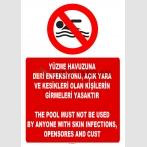 AT 1287 -  Türkçe-İngilizce Yüzme Havuzuna Deri Enfeksiyonu, Açık Yara ve Kesikleri Olan Kişilerin Girmeleri Yasaktır