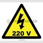 YT7305 - Elektrik tehlikesi 220 volt işareti levhası/etiketi