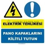 YT7481 - Elektrik tehlikesi, pano kapaklarını kilitli tutun