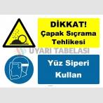 YT7614 - Dikkat çapak sıçrama tehlikesi, yüz siperi kullan