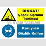 YT7617 - Dikkat çapak sıçrama tehlikesi, koruyucu gözlük kullan