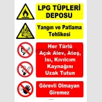 YT7544 - LPG tüpleri deposu - Patlama Tehlikesi - Açık alev, ateş, ısı, kıvılcım kaynağını uzak tutun, görevli olmayan giremez