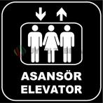 ZY1166 - Türkçe İngilizce Asansör/Elevator, siyah - beyaz, kare