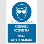 ZY1364 - Türkçe İngilizce, Koruyucu Gözlük Tak, Wear Safety Glasses