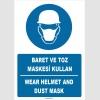ZY1457 - Türkçe İngilizce, Baret ve toz maskesi kullan, Wear helmet and dust mask