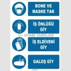 ZY1491 - Bone ve Maske Tak, İş Önlüğü Giy, İş Eldiveni Giy, Galoş Giy