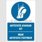 ZY1760 - ISO 7010 Türkçe İngilizce Antistatik Ayakkabı Giy, Wear Anti-Static Footwear