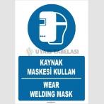 ZY1372 - Türkçe İngilizce, Kaynak Maskesi Kullan, Wear Welding Mask