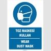 ZY1378 - ISO 7010 Türkçe İngilizce, Toz Maskesi Kullan, Wear Dust Mask