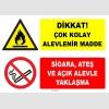 ZY1912 - ISO 7010 Dikkat Çok Kolay Alevlenir Madde, Sigara, Ateş ve Açık Alevle Yaklaşma