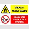 ZY1913 - ISO 7010 Dikkat Yanıcı Madde, Sigara, Ateş ve Açık Alevle Yaklaşma