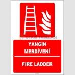 ZY1957 - ISO 7010 Türkçe İngilizce Yangın Merdiveni, Fire Ladder
