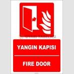 ZY1991 - ISO 7010 Türkçe İngilizce Yangın Kapısı, Fire Door