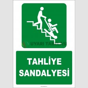 ZY2071 - ISO 7010 Türkçe İngilizce Tahliye Sandalyesi, Evacuation Chair