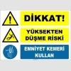 ZY2125 - ISO 7010 Dikkat! Yüksekten Düşme Riski, Emniyet Kemeri Kullan